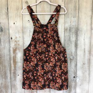 💣 Floral Jumper Dress Fine Wale Corduroy Size Med